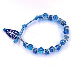 hand crafted Blue Bracelet leather Crackle beads